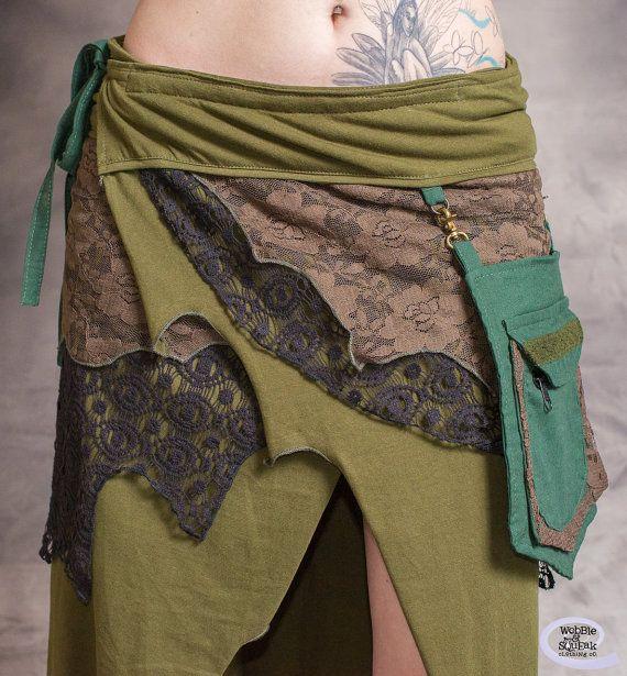 HIPPY SKIRT Full Length Gypsy Side Pocket Pixie Psytrance Festival Goa One Size