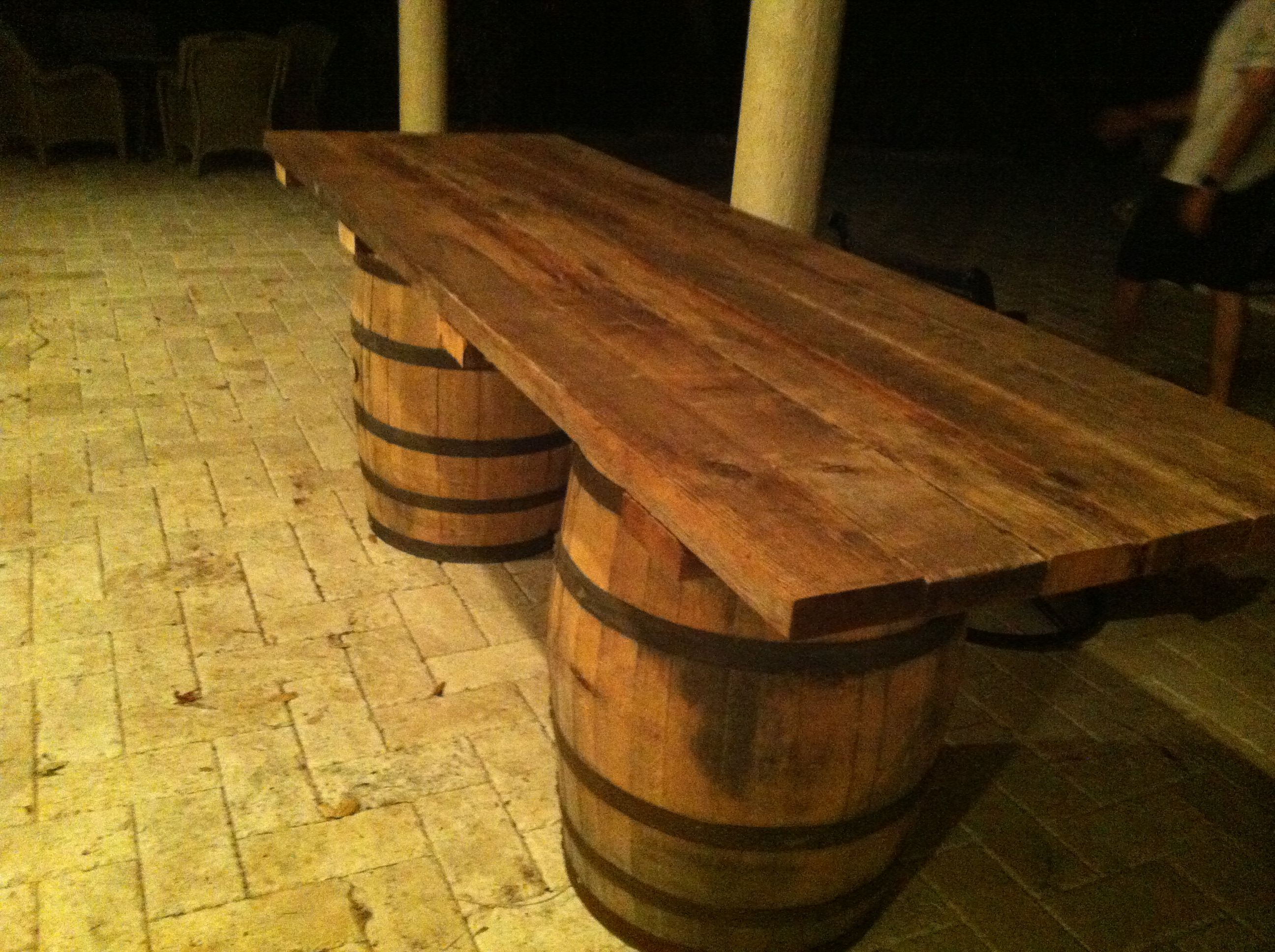 Wine barrels from florida home made bar top table i for How to build a wine bar