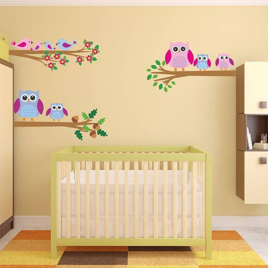 Owls And Birds Branch Wall Stickers | Bird branch, Wall sticker ...