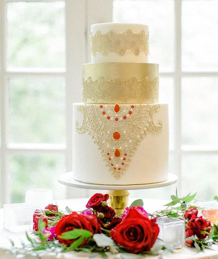 South Asian Inspired gold, red and white Wedding Cake with ...