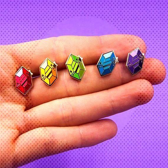 Legend of Zelda Rupee Pins made by Joanna Behar -