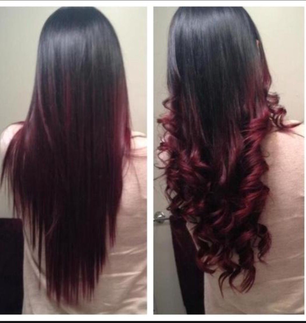 ombre highlights in red curly and straight hair