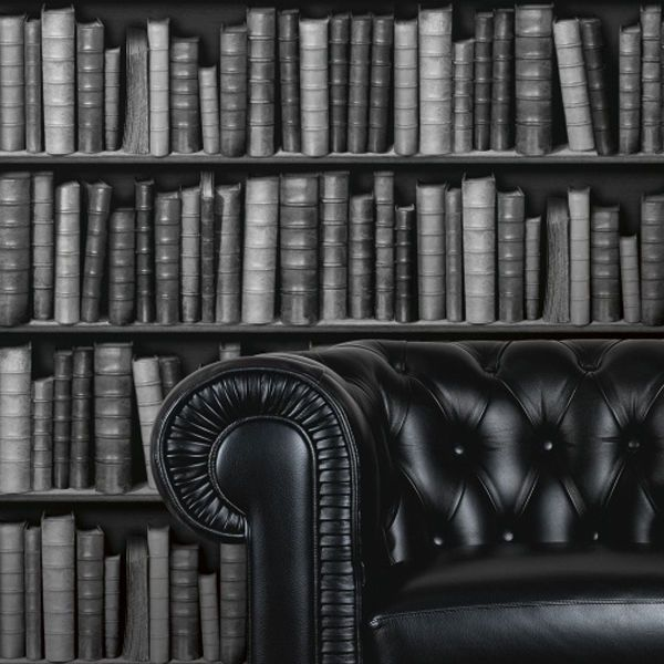Leather Bookcase Effect Wallpaper In Black Grey White
