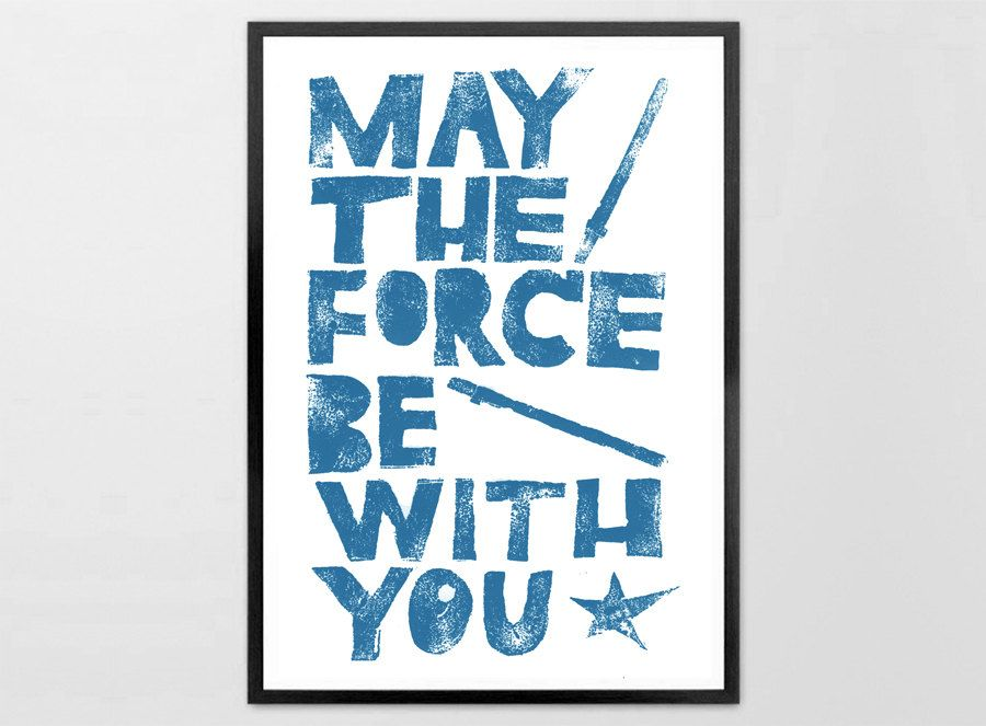 inspirational design star wars wall. May the Force be with You inspirational quotes  Star Wars quote print letterpress movie poster Baby boy kids wall decor framed