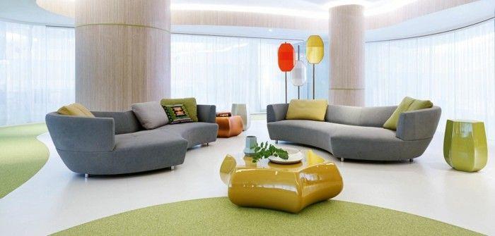 Ausgefallener Couchtisch rundes sofa graue rundsofas ausgefallener gelber couchtisch schöner