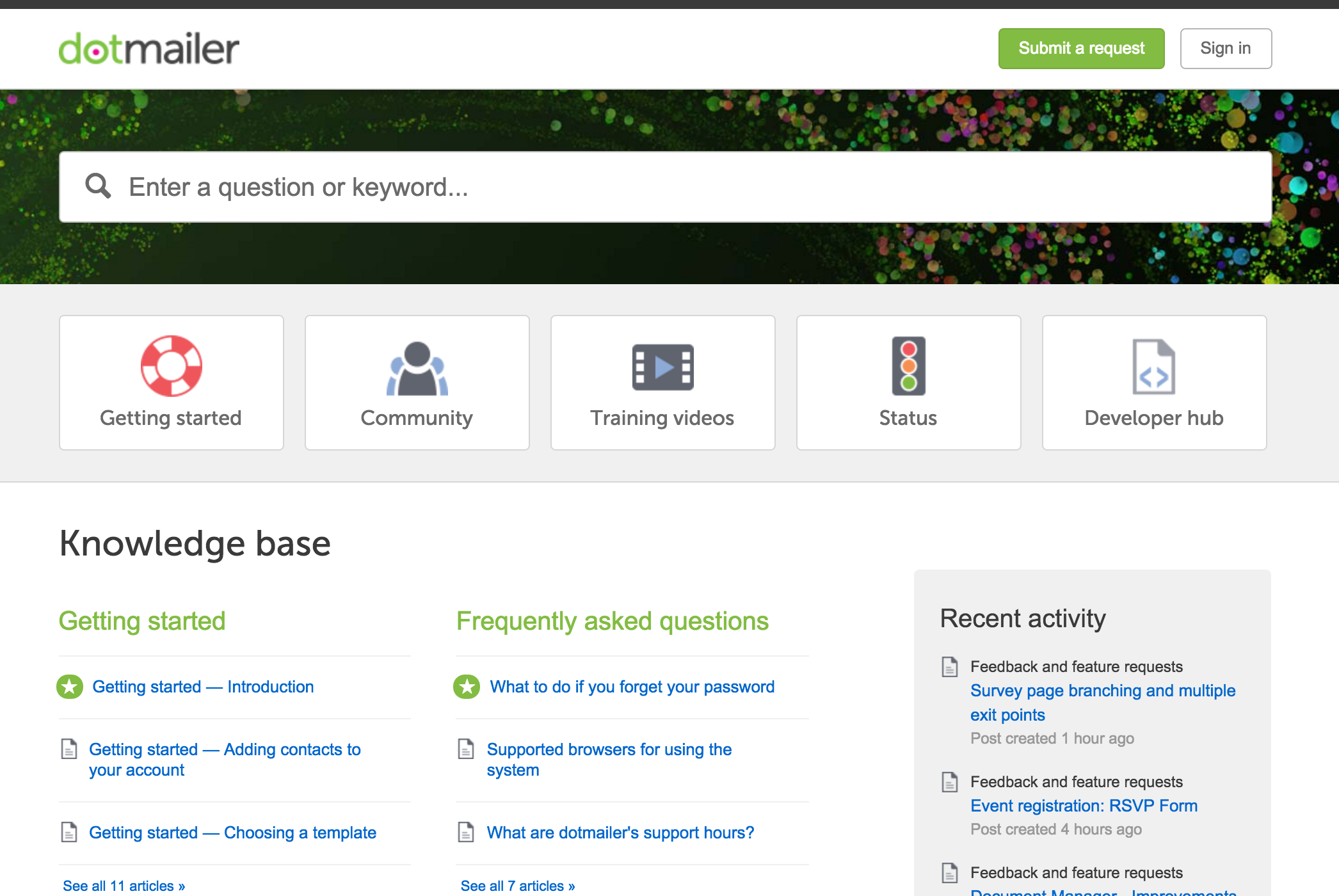 Clear icons make it easy to navigate the @dotmailer Help Center ...