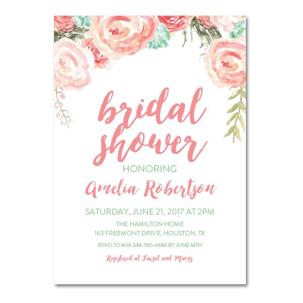 editable pdf bridal shower invitation diy pink mint watercolor floral instant download printable edit in adobe reader
