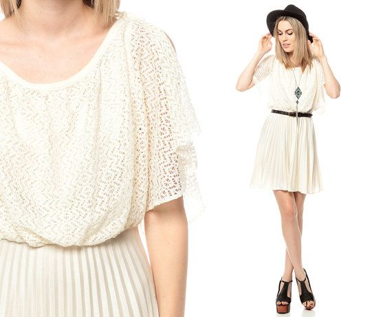 White Grecian Dress 70s CROCHET KNIT Pleated Vintage by ShopExile, $58.00