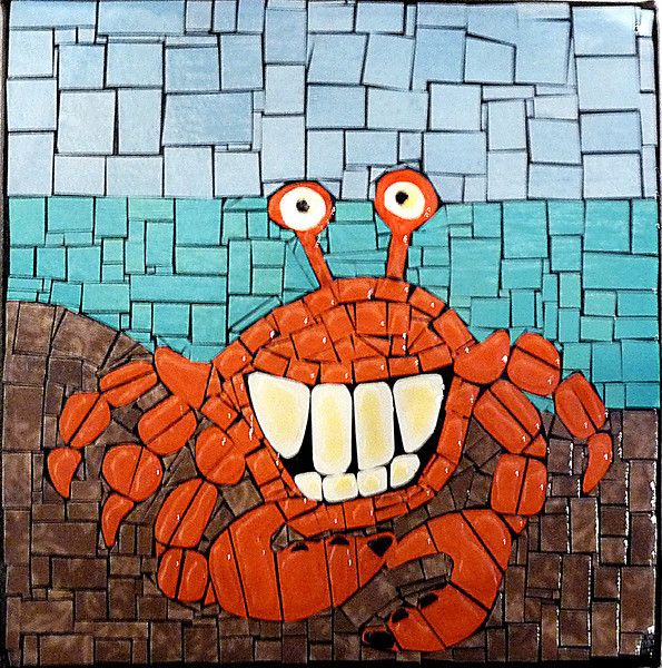 Mosaic crab smiling great example of how cute a simple for Easy mosaic designs