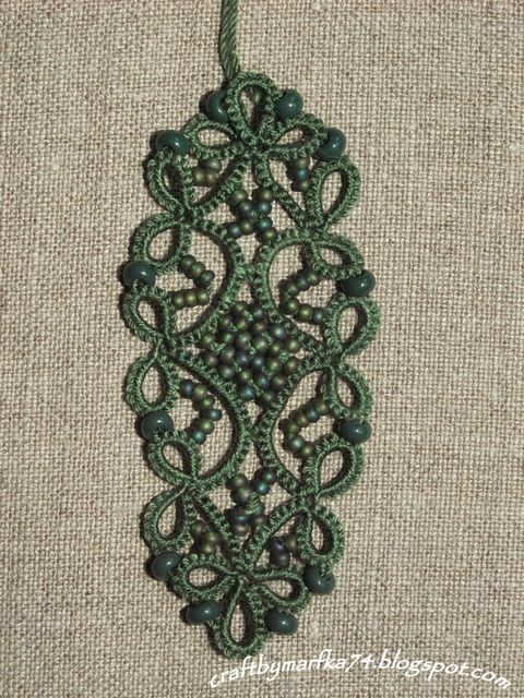 Pretty green tatted lace with beads.  Patrizia R - Crochet / Tatting. &  Christina - Tatted Jewels*****