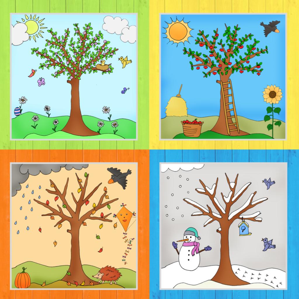Zum Abschluss Der Jahreszeitenbaume Gibt Es Jetzt Noch Das Komplettpaket Mit Allen Vier Baumen In Fa Kalender Fur Kinder Jahreszeiten Jahreszeiten Kindergarten
