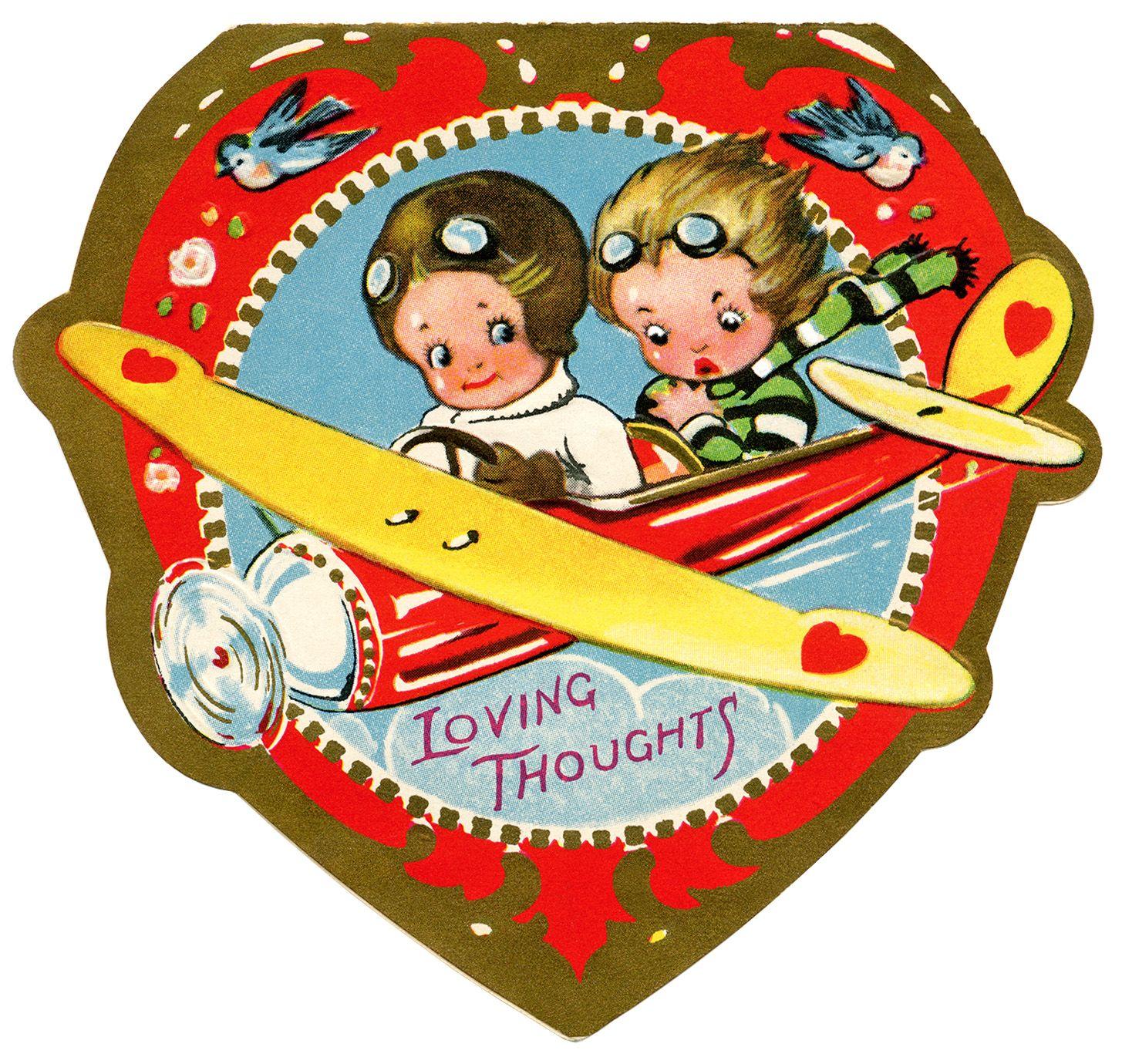 biplane valentine vintage valentine clip art airplane valentine