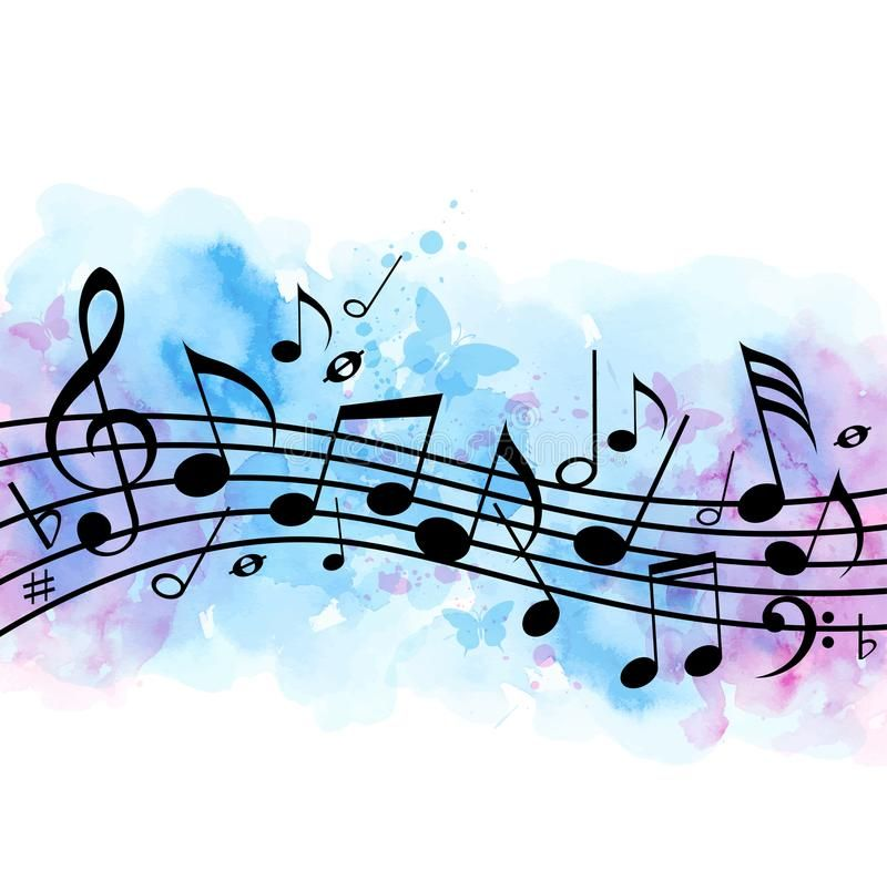 Music Background With Notes And Blue Watercolor Texture Abstract Vector Music B Sponsored Spons Music Notes Drawing Music Notes Art Music Notes Background