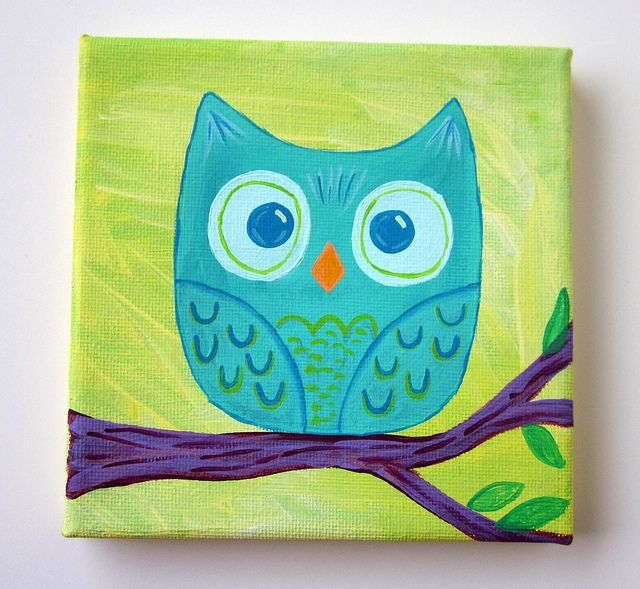 Mini teal owl original painting 5x5 canvas owl paintings for Canvas painting for kids