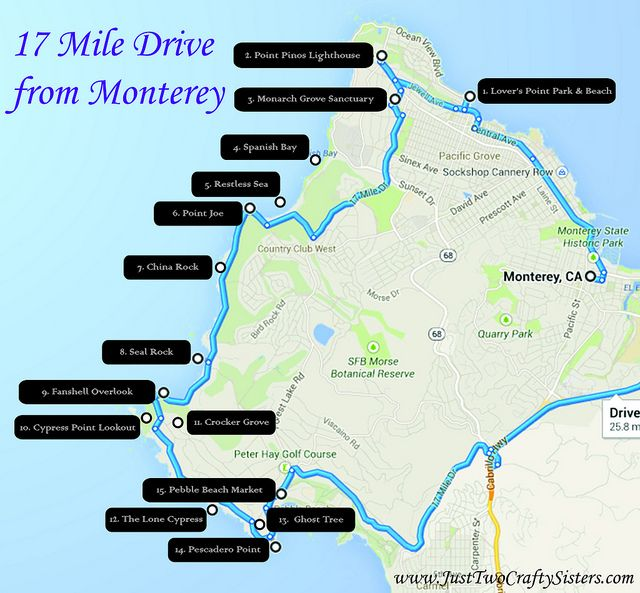 17 mile drive map by Just Two Crafty Sisters | Just Two Crafty ...  Mile Drive Map on