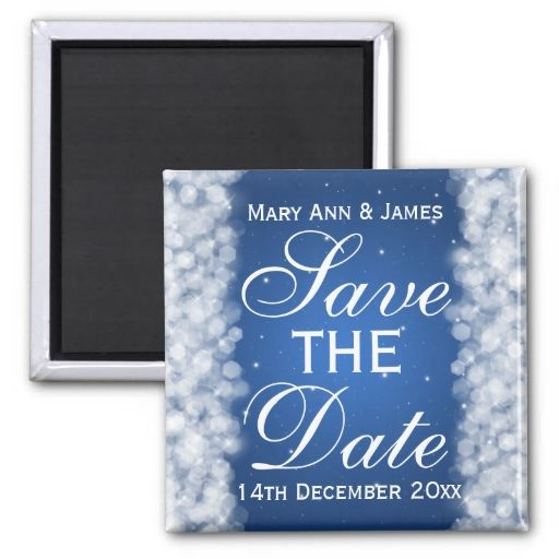 Elegant Save The Date Party Sparkle Blue Magnet