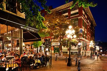 Stock Photo #1269-3251, People at a sidewalk cafe, Gastown, Vancouver, British Columbia, Canada