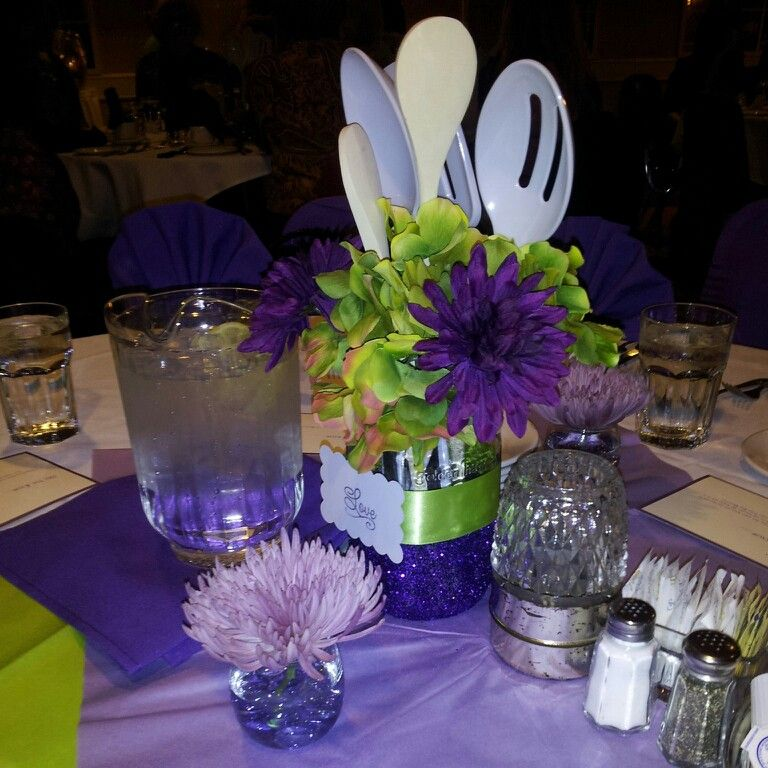 Kitchen theme bridal shower centerpiece