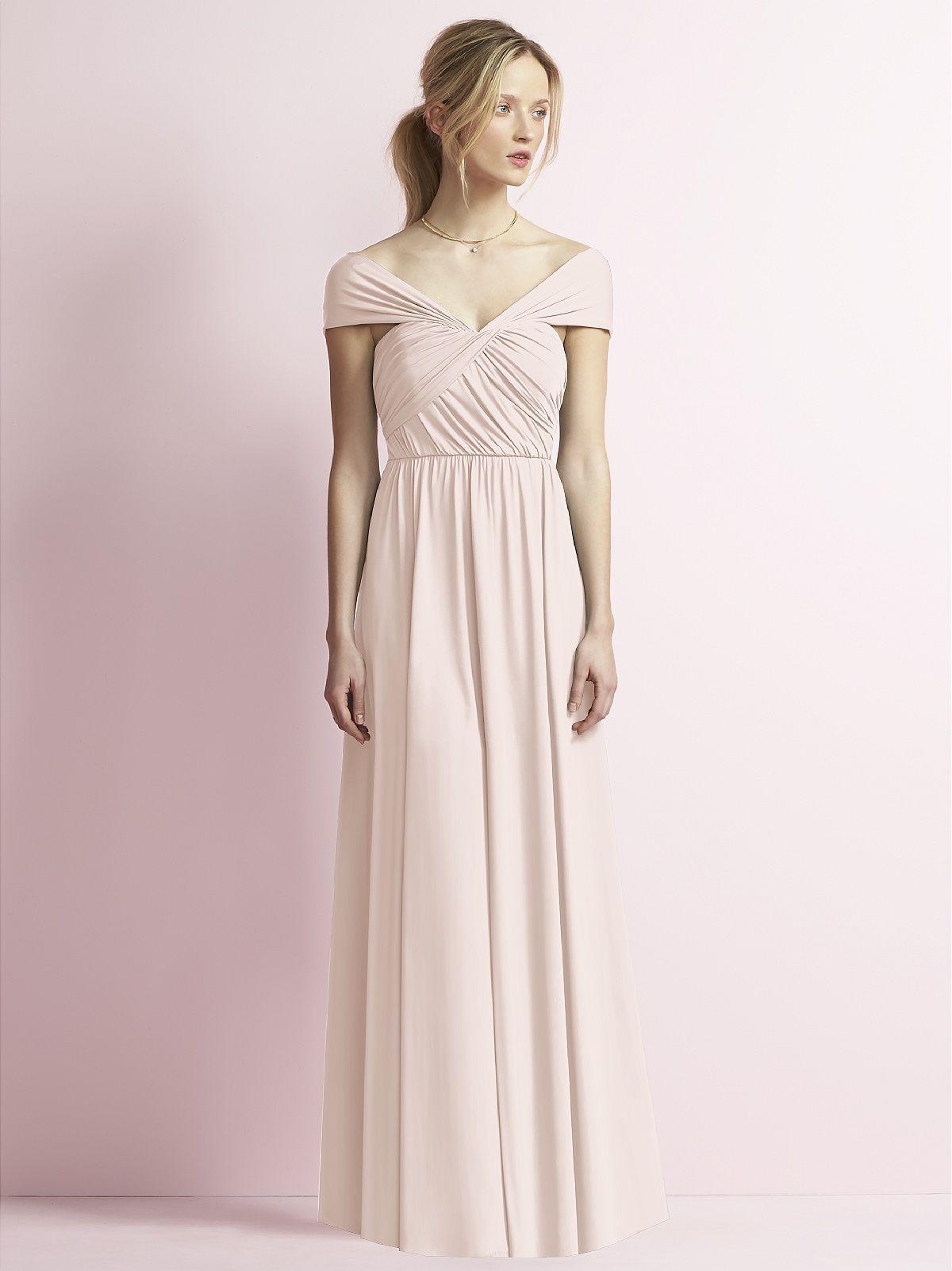 Jenny yoo jy jersey portrait neckline long aline bridesmaid