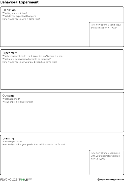 Behavioral Experiment CBT Worksheet
