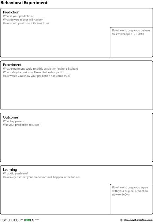 behavioral experiment cbt worksheet psychology tools cbt cbt worksheets cbt therapy. Black Bedroom Furniture Sets. Home Design Ideas