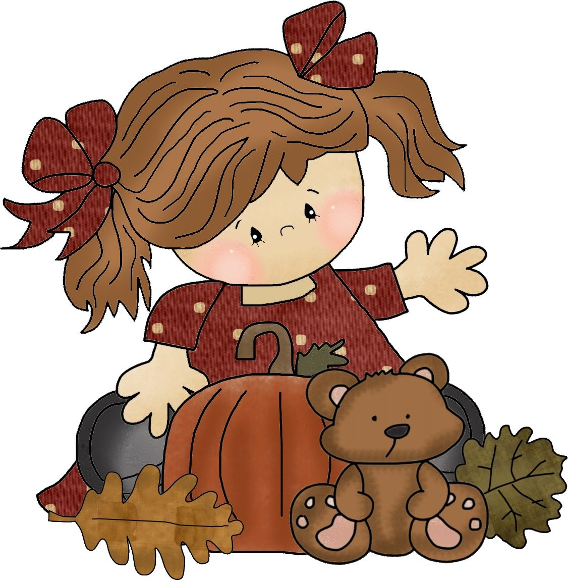 AUTUMN / FALL LITTLE GIRL CLIP ART | Fall prints