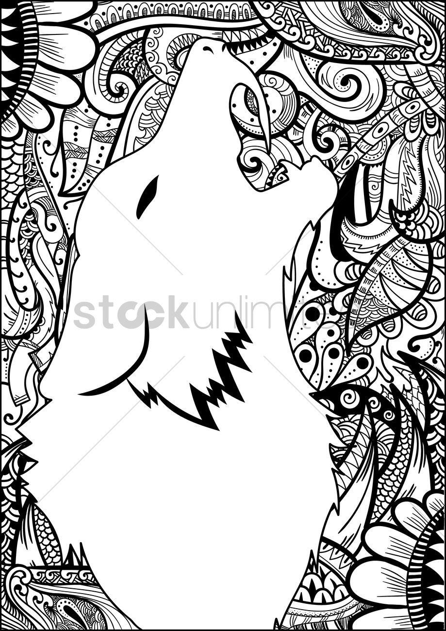 Decorative Design With Wolf Silhouette Vector Graphic Afbeeldingen Patronen