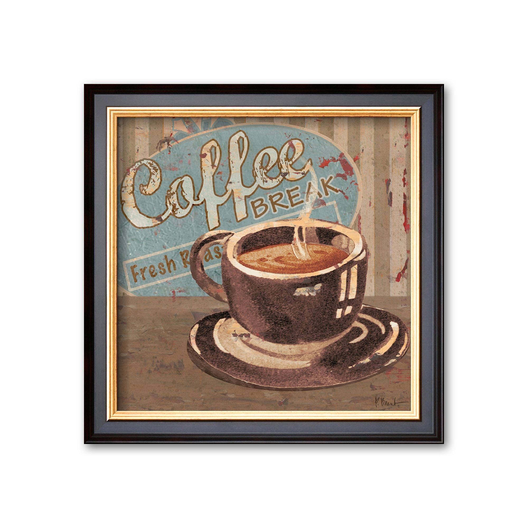Art.com Coffee Brew Sign I Framed Art Print by Paul Brent, Multicolor