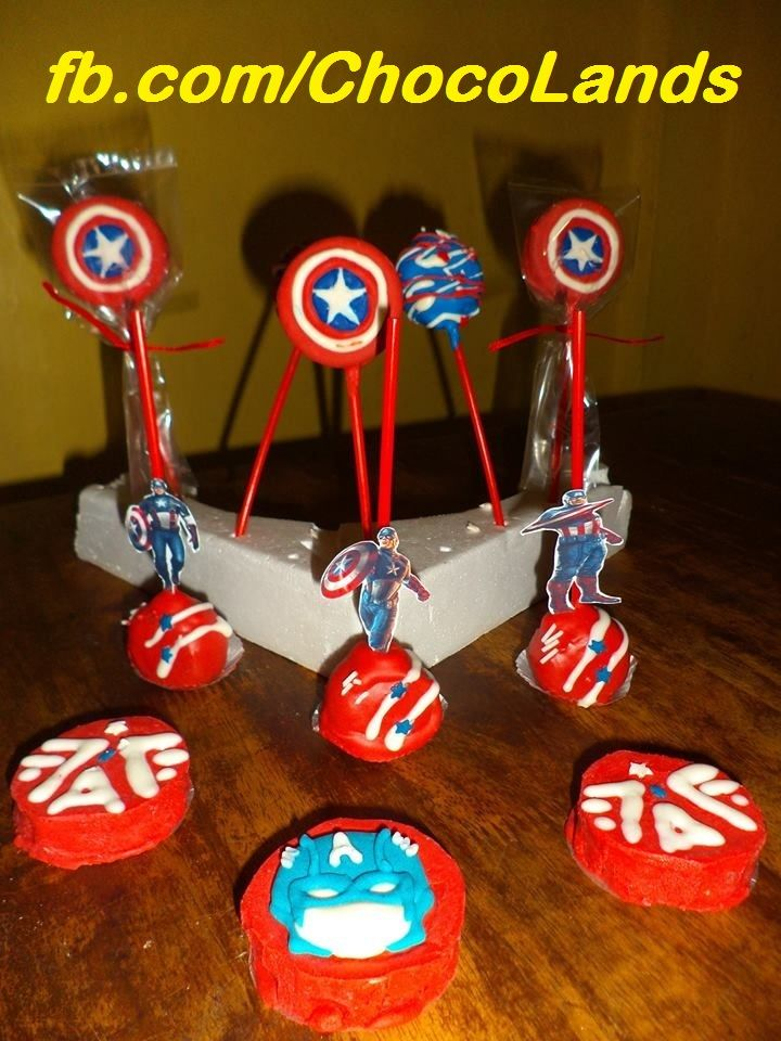 Captain america cake pops oreo chocolate america cake
