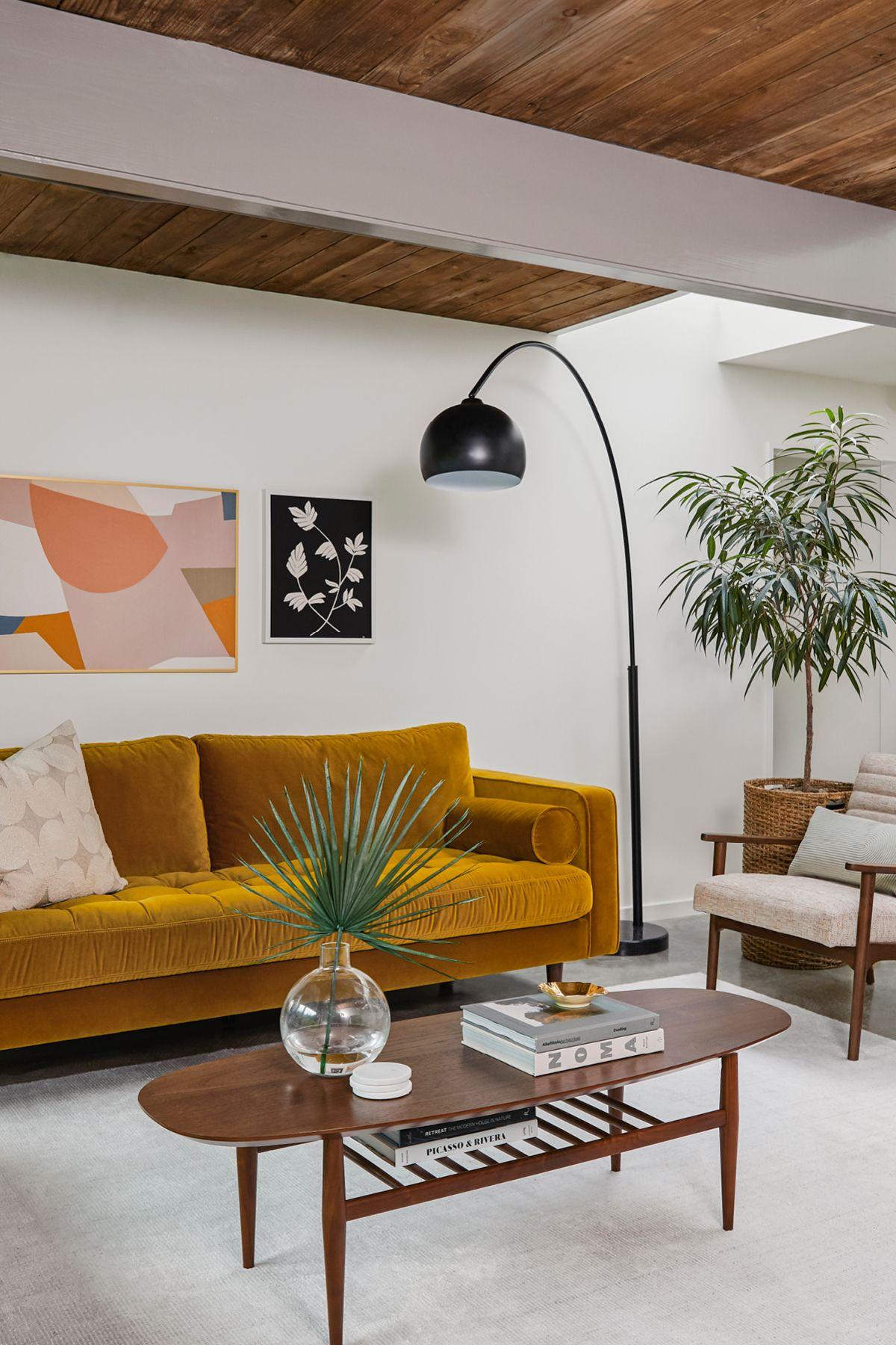 Lenia Walnut Oval Coffee Table Mid Century Modern Living Room Furniture Mid Century Modern Living Room Mid Century Living Room [ 1800 x 1200 Pixel ]