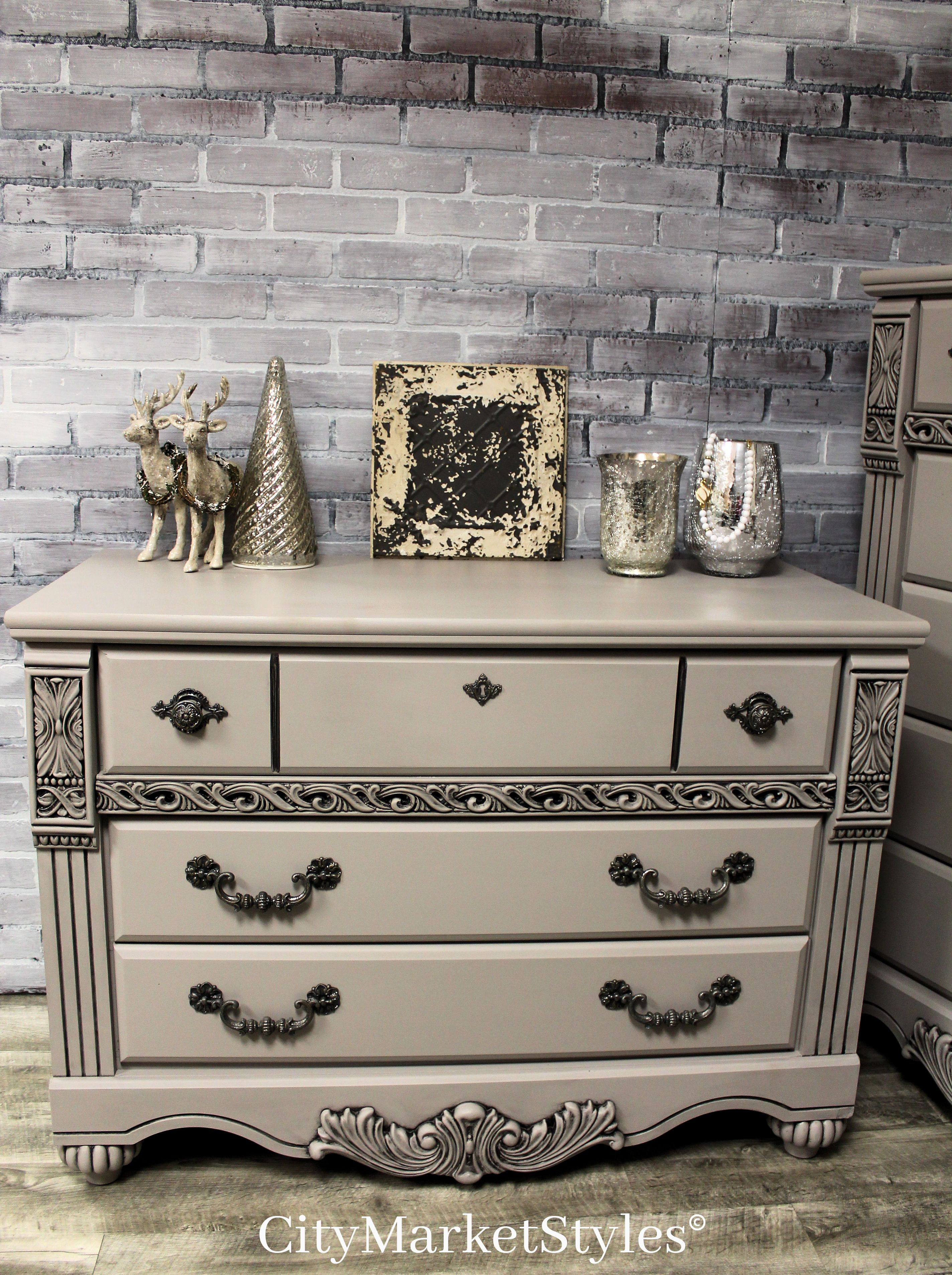 painted bedroom furniture pinterest. Small Dresser Painted In Rocky Bluffs Grey With Dark Glaze Accents. | Bedroom Furniture By City Market Styles Pinterest