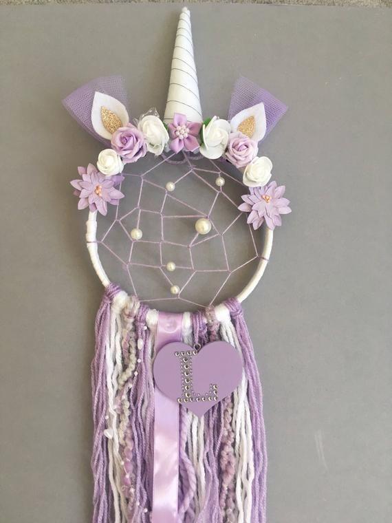 Personalised Unicorn Dreamcatcher with added webbing/Nursery | Etsy