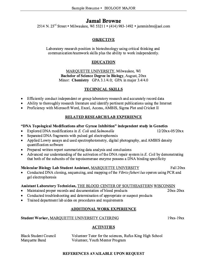 sample resume for biology research