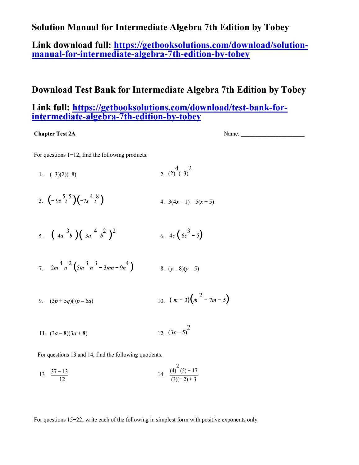 Solution manual for intermediate algebra 7th edition by tobey | solution  manual | Pinterest | Manual, Algebra and Lpn to rn