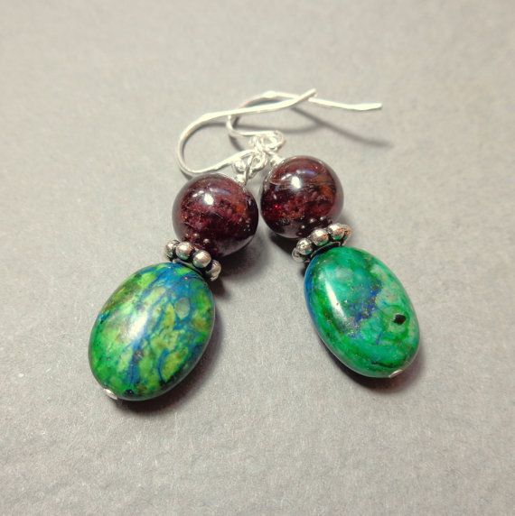 Azurite Earrings  Garnet Earrings  Natural Stone by TreesandStars
