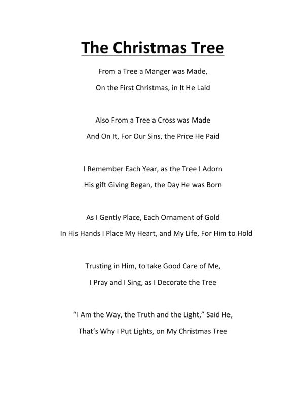 Christmas tree poem - The Christmas Tree Poem By K. Ross My Good Friend In Christ Jesus