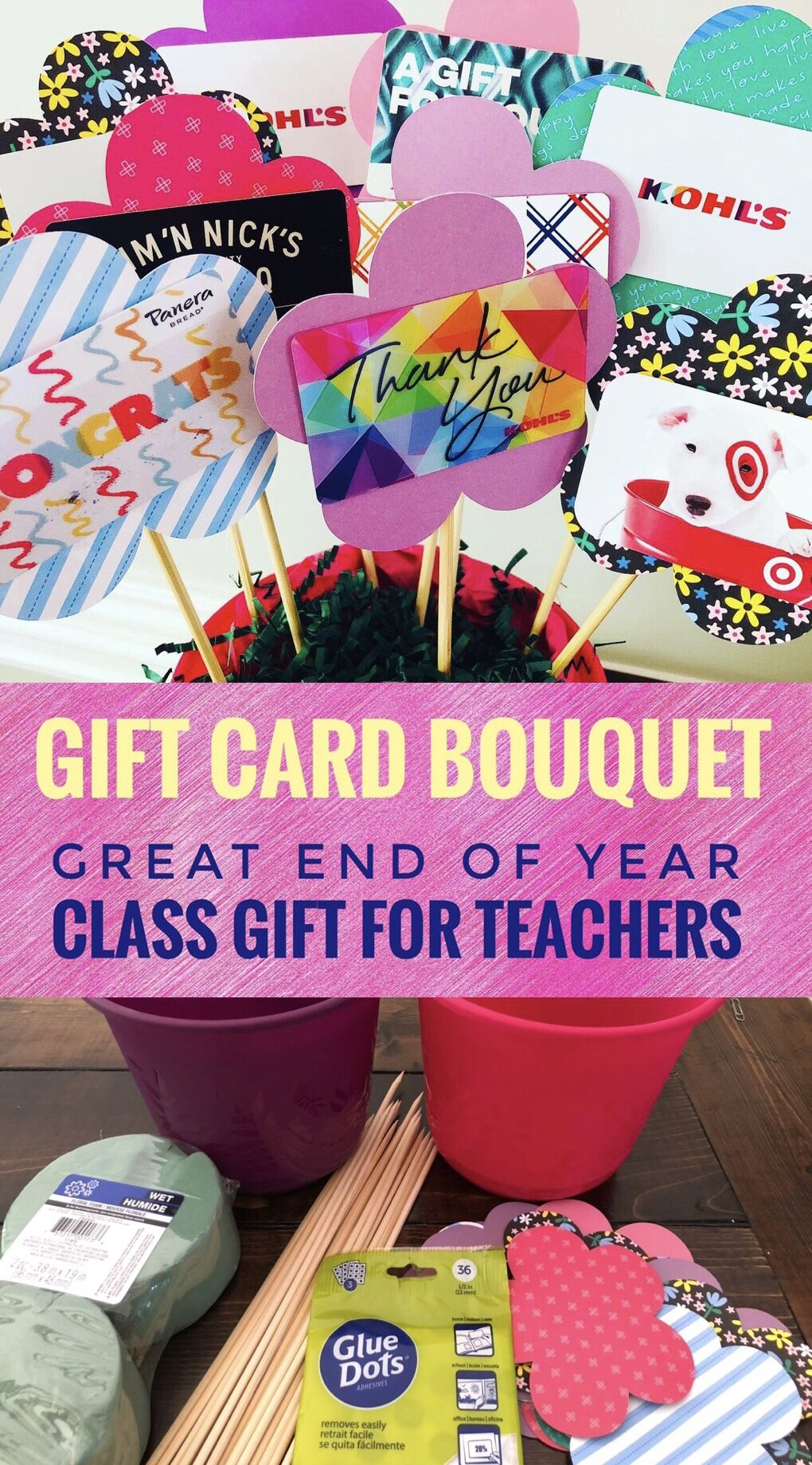 Gift card bouquet for teachers in 2020 with images