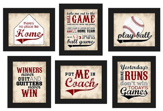 PRINTABLE Custom Baseball Theme Home Decor Set By LostSockDesigns Boys Bedroom DecorTeen
