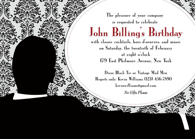 sample invitation - Mad Men themed | Mid 50s/60s Mad Men theme ...