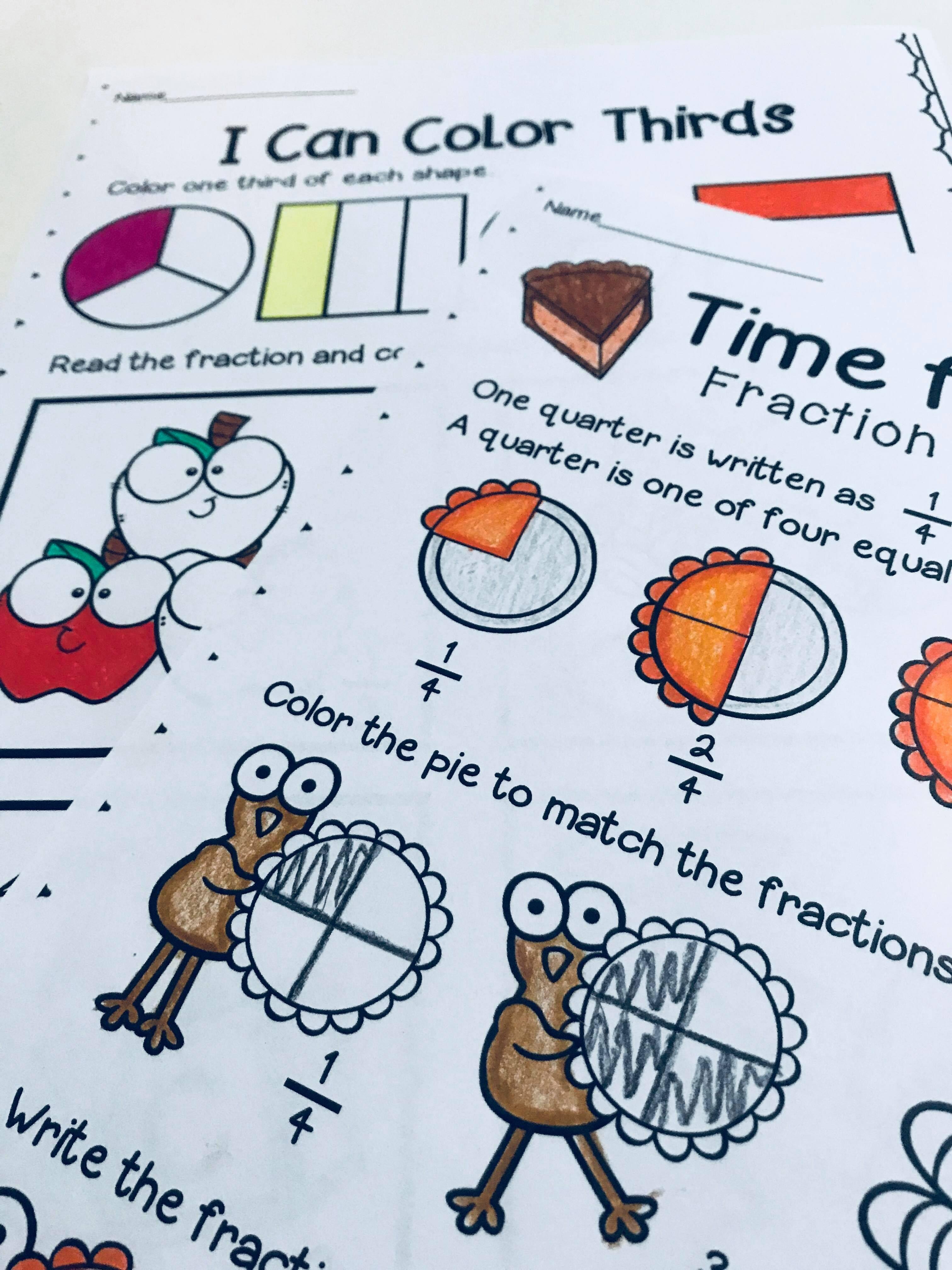 Fraction Worksheets For First Grade