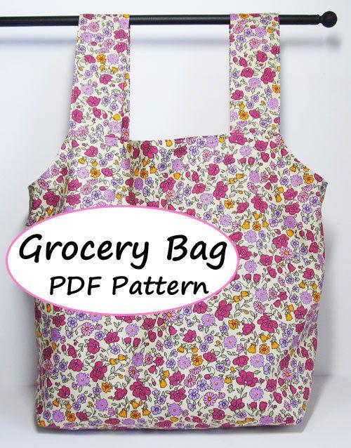 Grocery Bag Pattern Pdf : grocery, pattern, Grocery, Pattern, Sewing, Patterns,, Patterns