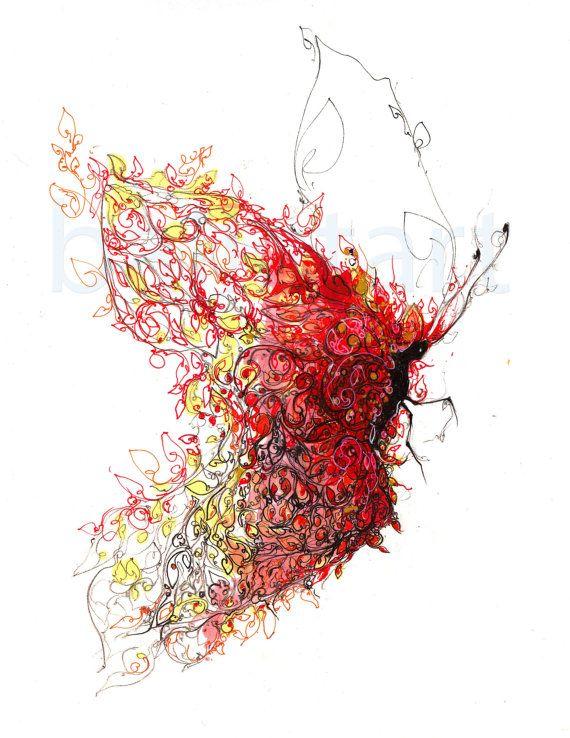 Red Hot Butterfly or Fire Wings of Love by BalletArt (Etsy)
