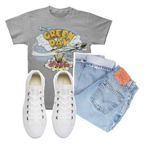 """American Idiot "" by dazzlinperrie ❤ liked on Polyvore featuring Levi's and Converse"