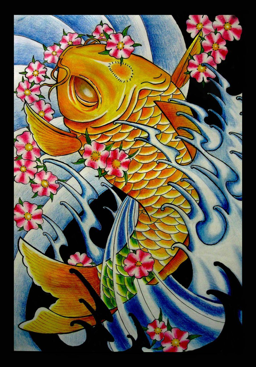 Japanese koi fish drawings japanese koi fish by for Japanese koi fish drawing
