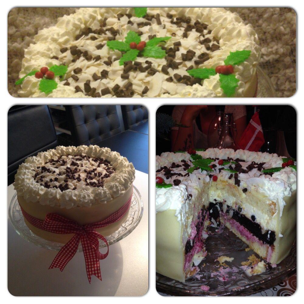 Sidste års  fødselsdags kage i bund og top en vanilje Fragilité, nederst en hindbær fromage i midten en chokolade bund og i toppen en blåbær lime fromage :)