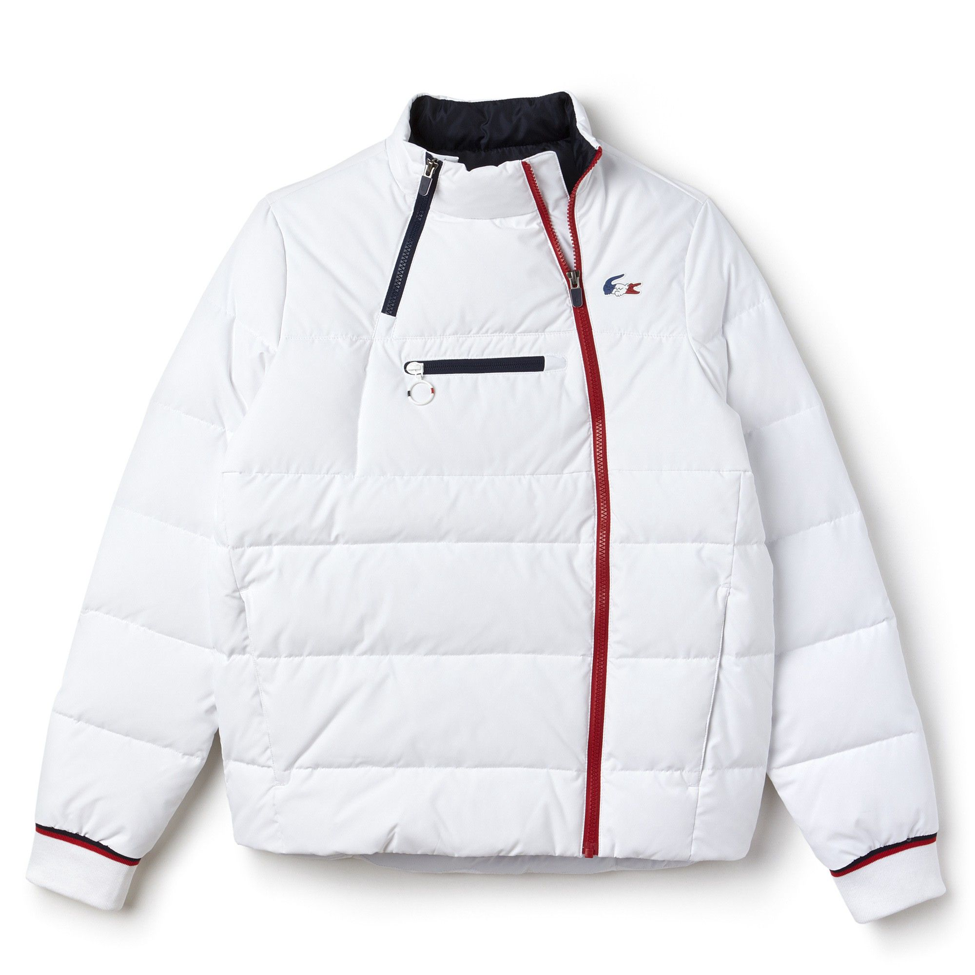 d6d3bc566896 Lacoste Women s French Sporting Spirit Edition Elasticized Panel Quilted  Jacket - White Navy Blue-Red S