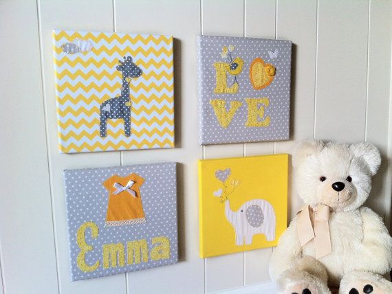 Fabric wall hanging Yellow Chevron Elephant by WonderlandHomeDecor ...