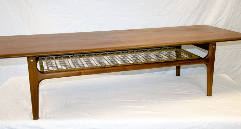danish modern coffee table caned shelf | modern coffee tables