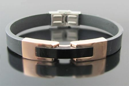 Mens rose gold plated stainless steel and rubber b