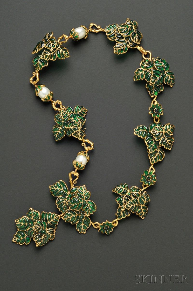 Vintage Colored Glass Leaf Necklace, Maison Gripoix, of lavish pate-de-verre foliage with faux pearl accents, lg. 21 in., unsigned.